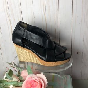Cole Haan | Nike Air Black Leather Wedges Size 8.5